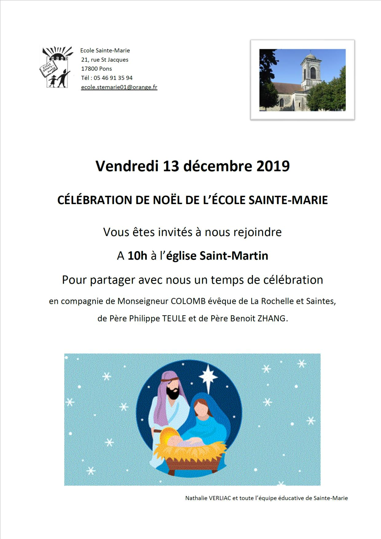 Invitation Célébration de Noël 2019